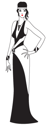 Art Deco drawing of a lady